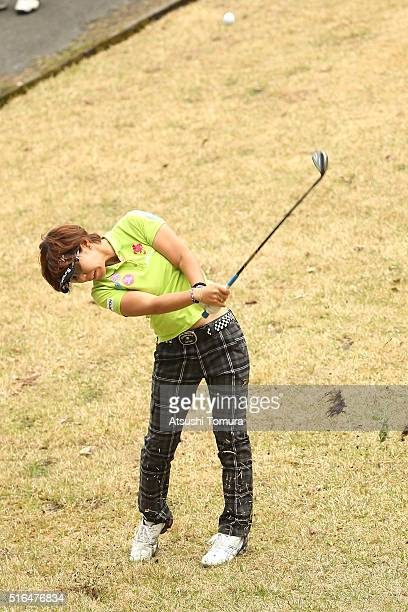 Lala Anai of Japan hits her second shot on the 18th hole during the second round of the T-Point Ladies Golf Tournament at the Wakagi Golf Club on...