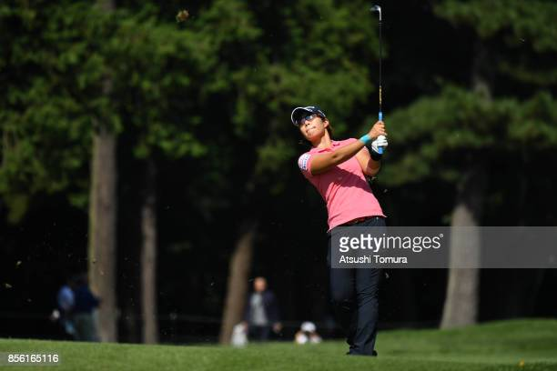 Lala Anai of Japan hits her second shot on the 1st hole during the final round of Japan Women's Open 2017 at the Abiko Golf Club on October 1 2017 in...