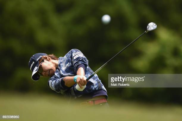 Lala Anai of Japan hits her second shot on the 6th hole during the final round of the Yonex Ladies Golf Tournament 2016 at the Yonex Country Club on...