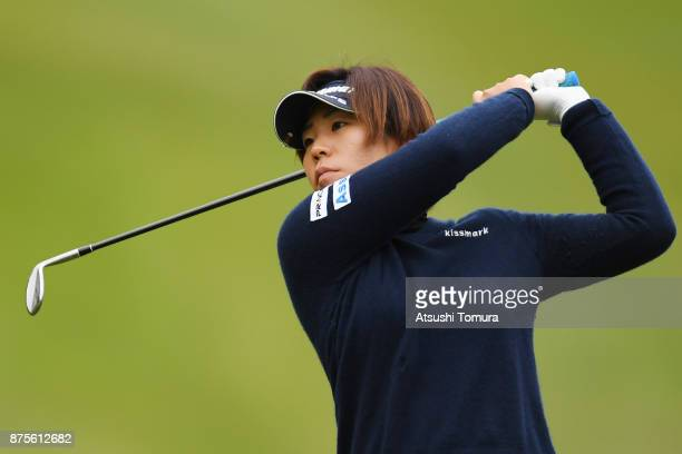 Lala Anai of Japan hits her second shot on the 7th hole during the third round of the Daio Paper Elleair Ladies Open 2017 at the Elleair Golf Club on...