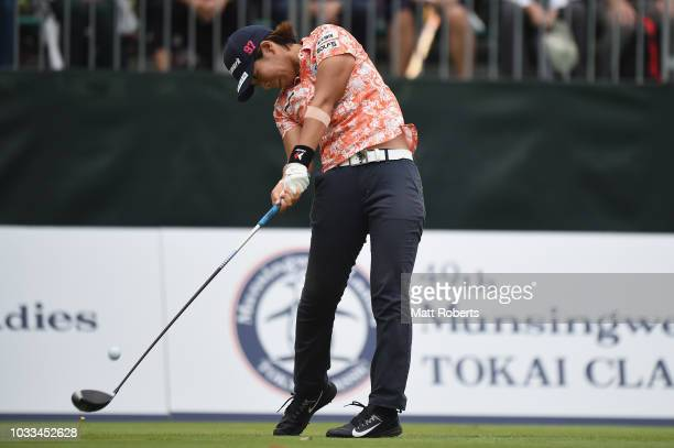 Lala Anai of Japan hits her tee shot during the longest drive contest after the second round of the Munsingwear Ladies Tokai Classic at Shin Minami...
