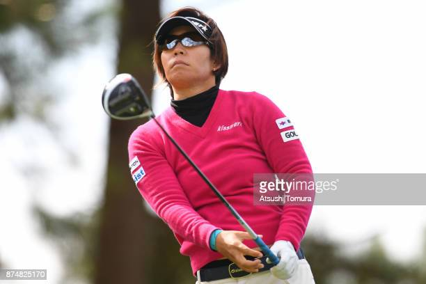 Lala Anai of Japan hits her tee shot on the 15th hole during the first round of the Daio Paper Elleair Ladies Open 2017 at the Elleair Golf Club on...