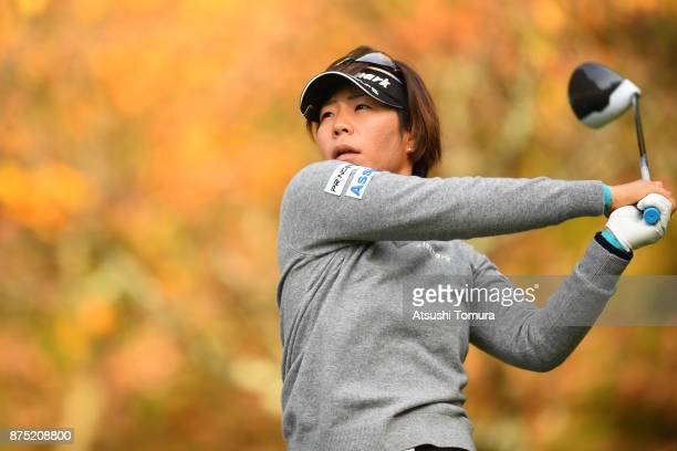 Lala Anai of Japan hits her tee shot on the 2nd hole during the second round of the Daio Paper Elleair Ladies Open 2017 at the Elleair Golf Club on...