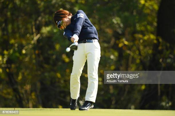 Lala Anai of Japan hits her tee shot on the 4th hole during the second round of the LPGA Tour Championship Ricoh Cup 2017 at the Miyazaki Country...