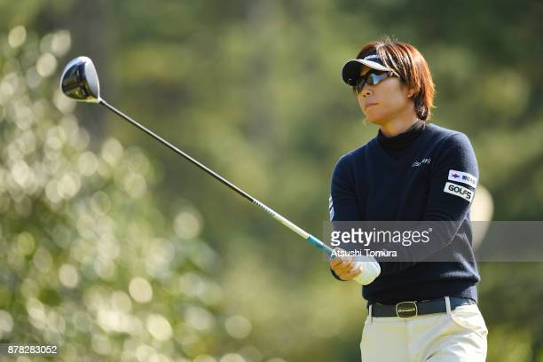 Lala Anai of Japan hits her tee shot on the 9th hole during the second round of the LPGA Tour Championship Ricoh Cup 2017 at the Miyazaki Country...