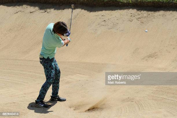 Lala Anai of Japan hits out of the 17th green bunker during the final round of the HokennoMadoguchi Ladies at the Fukuoka Country Club Wajiro Course...