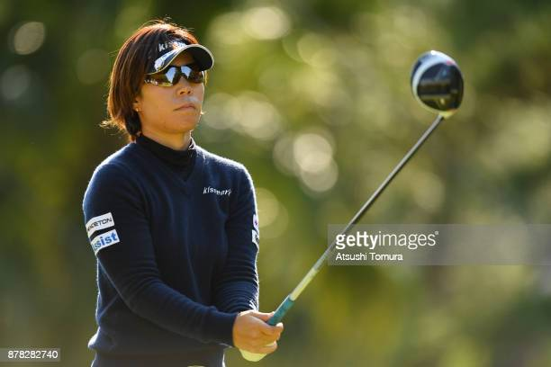 Lala Anai of Japan lines up her tee shot on the 14th hole during the second round of the LPGA Tour Championship Ricoh Cup 2017 at the Miyazaki...