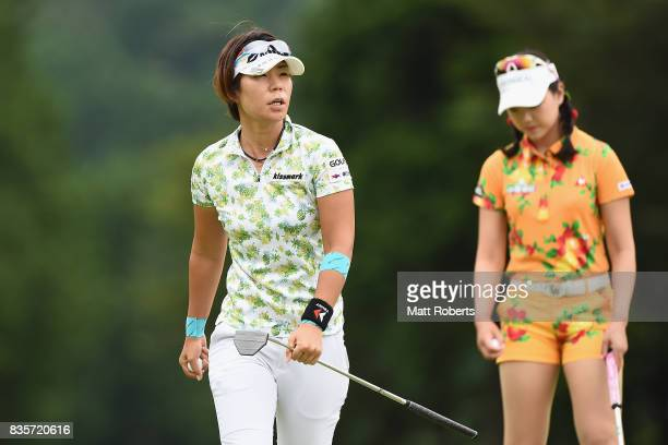 Lala Anai of Japan looks on during the final round of the CAT Ladies Golf Tournament HAKONE JAPAN 2017 at the Daihakone Country Club on August 20...