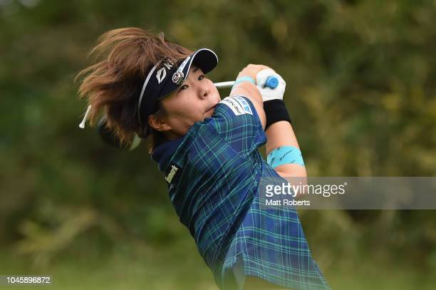 Lala Anai of Japan plays her tee shot on the 3rd hole during the first round of the Stanley Ladies at Tomei Country Club on October 5, 2018 in...