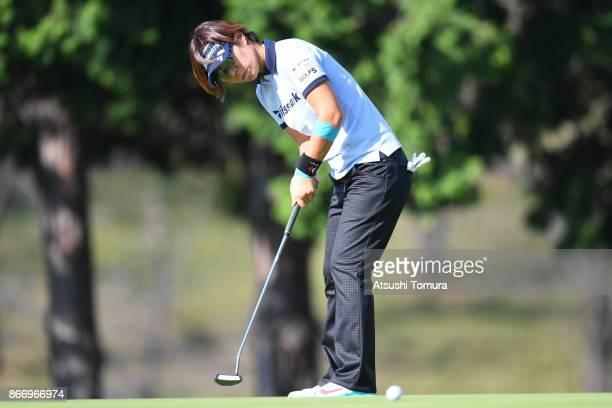 Lala Anai of Japan putts on the 18th hole during the first round of the Higuchi Hisako Ponta Ladies at the Musashigaoka Golf Course on October 27...