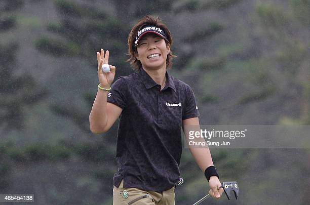 Lala Anai of Japan reacts after a putt during the second round of the Daikin Orchid Ladies Golf Tournament at the Ryukyu Golf Club on March 7 2015 in...