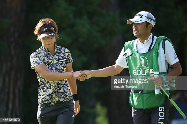 Lala Anai of Japan reacts after making her birdie putt on the 18th hole during the first round of the Golf 5 Ladies Tournament 2015 at the Mizunami...