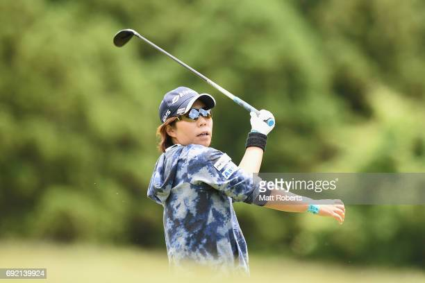Lala Anai of Japan watches her second shot on the 6th hole during the final round of the Yonex Ladies Golf Tournament 2016 at the Yonex Country Club...