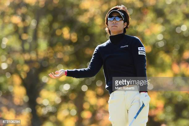 Lala Anai of Japan watches her tee shot on the 9th hole during the final round of the Itoen Ladies Golf Tournament 2017 at the Great Island Club on...