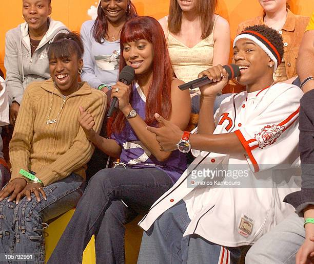 LaLa and Bow Wow during LeBron James Bow Wow and Magic Johnson Visit MTV's TRL June 18 2003 at MTV Studios Times Square in New York City New York...