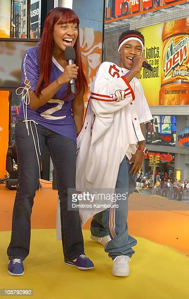 LaLa and Bow Wow during LeBron James Bow Wow and Magic Johnson Visit MTV's 'TRL' June 18 2003 at MTV Studios Times Square in New York City New York...