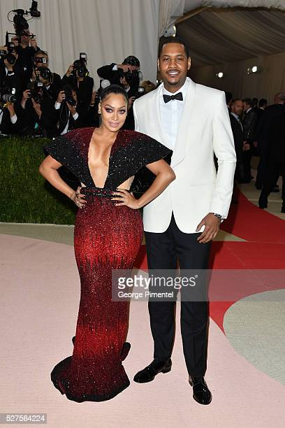 Lala Anthony and Carmelo Anthony attend the 'Manus x Machina Fashion in an Age of Technology' Costume Institute Gala at the Metropolitan Museum of...