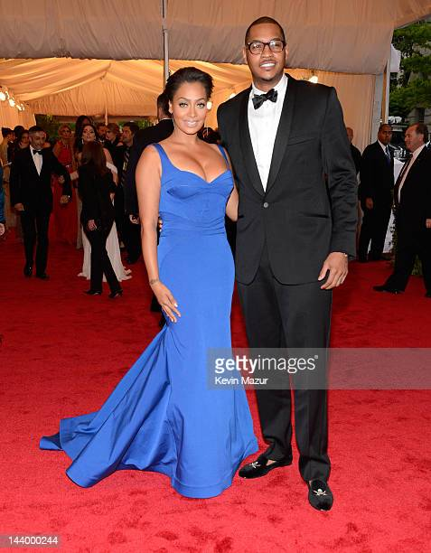 LaLa Anthony and Carmelo Anthony attend the 'Schiaparelli And Prada Impossible Conversations' Costume Institute Gala at the Metropolitan Museum of...