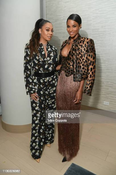 LaLa Anthony and Ciara attend the InStyle Dinner to Celebrate the April Issue Hosted By Cover Star Ciara and Laura Brown on March 13 2019 in New York...