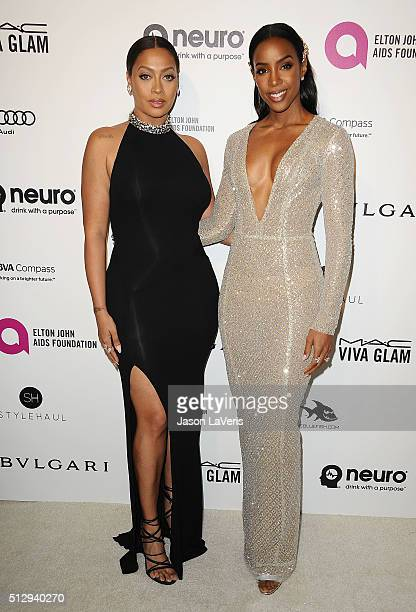 LaLa Anthony and Kelly Rowland attend the 24th annual Elton John AIDS Foundation's Oscar viewing party on February 28, 2016 in West Hollywood,...