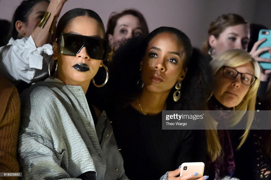 LaLa Anthony and Kelly Rowland attend the Esteban Cortazar front row during New York Fashion Week: The Shows at Gallery I at Spring Studios on February 14, 2018 in New York City.