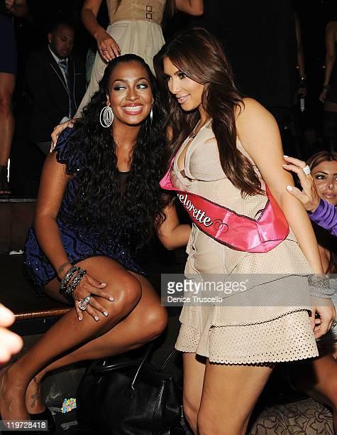 Lala Anthony and Kim Kardashian celebrate Kim Kardashian's bachelorette party at TAO Nightclub at the Venetian on July 23 2011 in Las Vegas Nevada