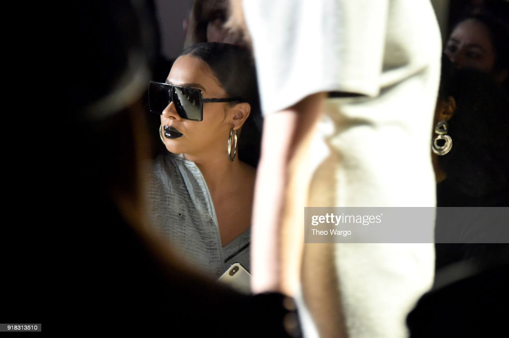 LaLa Anthony attends the Esteban Cortazar front row during New York Fashion Week: The Shows at Gallery I at Spring Studios on February 14, 2018 in New York City.