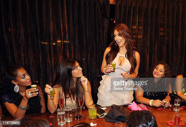 Lala Anthony Brittny Gastineau Kim Kardashian and Kayla Humphries attend Kim Kardashian's bachelorette dinner at TAO Bistro at the Venetian on July...
