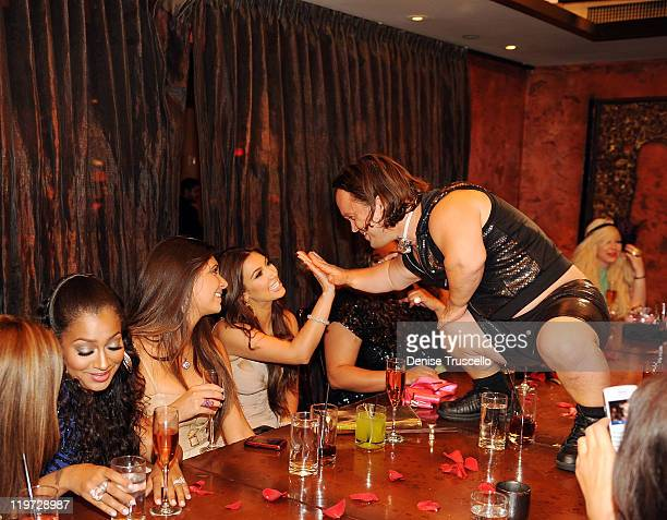 Lala Anthony Brittny Gastineau Kim Kardashian and Might Mike attend Kim Kardashian's bachelorette dinner at TAO Bistro at the Venetian on July 23...