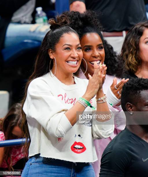 Lala Anthony Kelly Rowland cheer on Serena Williams at the 2018 US Open Women's Finals on September 8 2018 in New York City