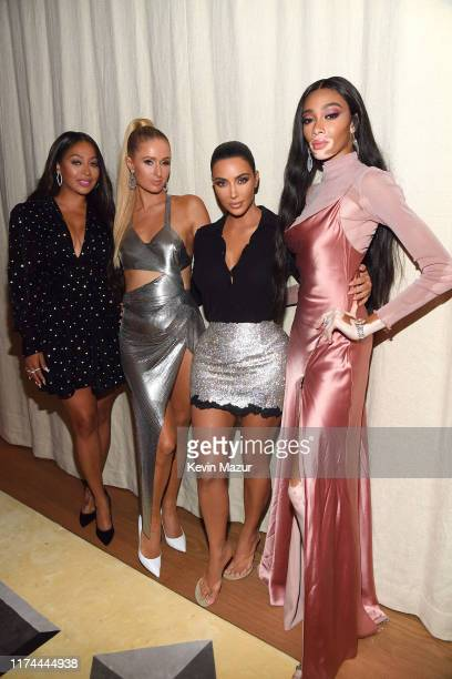 LaLa Anthony Paris Hilton Kim Kardashian West and Winnie Harlow attend KKW Beauty KKWxWinnie dinner at L'Avenue in Saks Fifth Avenue on September 12...