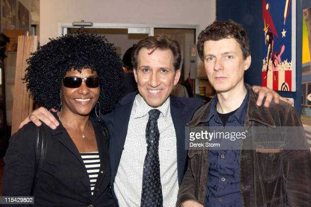 Lala Brooks Mark Kostabi and Michel Gondry during Mark Kostabi on Location for Name That Painting at Kostabi World in SOHO May 26 2006 at Kostabi...