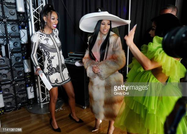 Lala Milan Cardi B and Hennessy Carolina attend Beautycon Festival New York 2019 at Jacob Javits Center on April 07 2019 in New York City