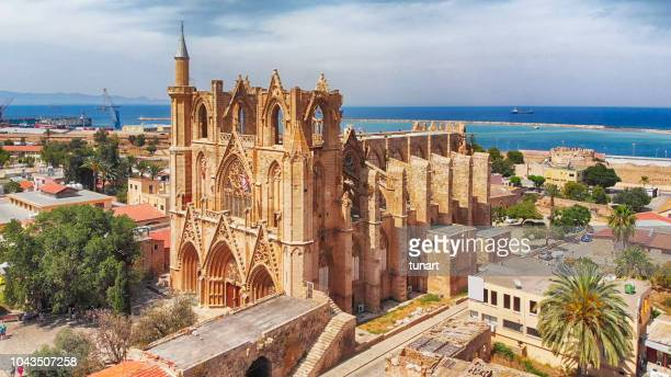 lala mustafa pasha mosque (cathedral of saint nicholas) in gazi magosa (famagusta), cyprus - republic of cyprus stock pictures, royalty-free photos & images