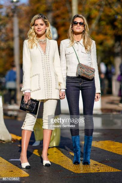 Lala Rudge and Helena Bordon outside Chanel during Paris Fashion Week Womenswear Spring/Summer 2018 on October 3 2017 in Paris France