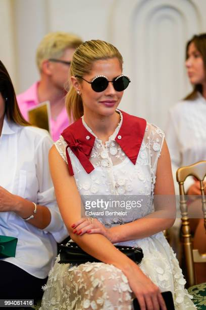 Lala Rudge attends the Ulyana Sergeenko Haute Couture Fall Winter 2018/2019 show as part of Paris Fashion Week on July 3 2018 in Paris France