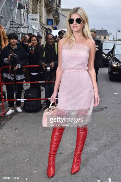 Lala Rudge is seen arriving at Giambattista Valli show during Paris Fashion Week on October 2 2017 in Paris France