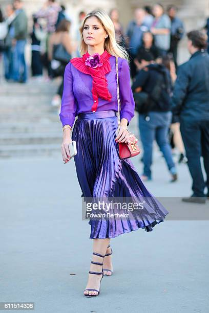 Lala Rudge is seen outside the Barbara Bui show at Grand Palais during Paris Fashion Week Spring Summer 2017 on September 29 2016 in Paris France