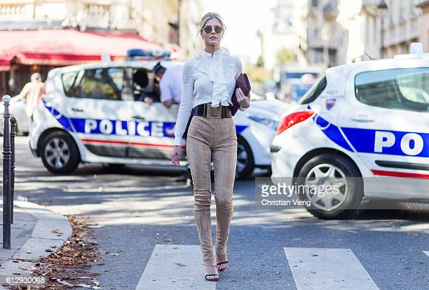 Lala Rudge outside Moncler Gamme Rouge on October 5 2016 in Paris France