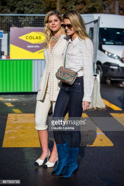 Lala Rudge Trussardi and Helena Bordon are seen before the Chanel show during Paris Fashion Week Womenswear SS18 on October 3 2017 in Paris France