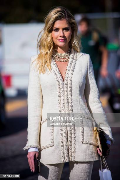 Lala Rudge Trussardi is seen after the Chanel show during Paris Fashion Week Womenswear SS18 on October 3 2017 in Paris France