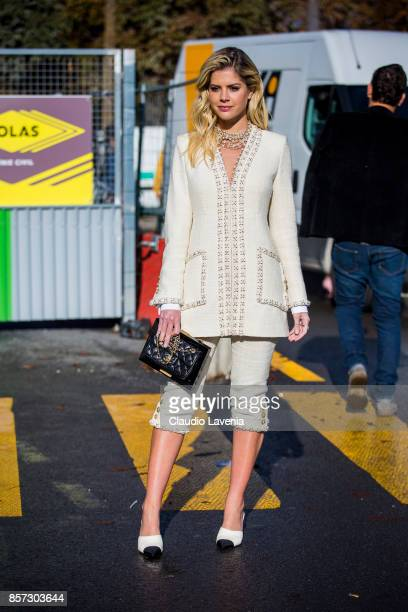 Lala Rudge Trussardi is seen before the Chanel show during Paris Fashion Week Womenswear SS18 on October 3 2017 in Paris France