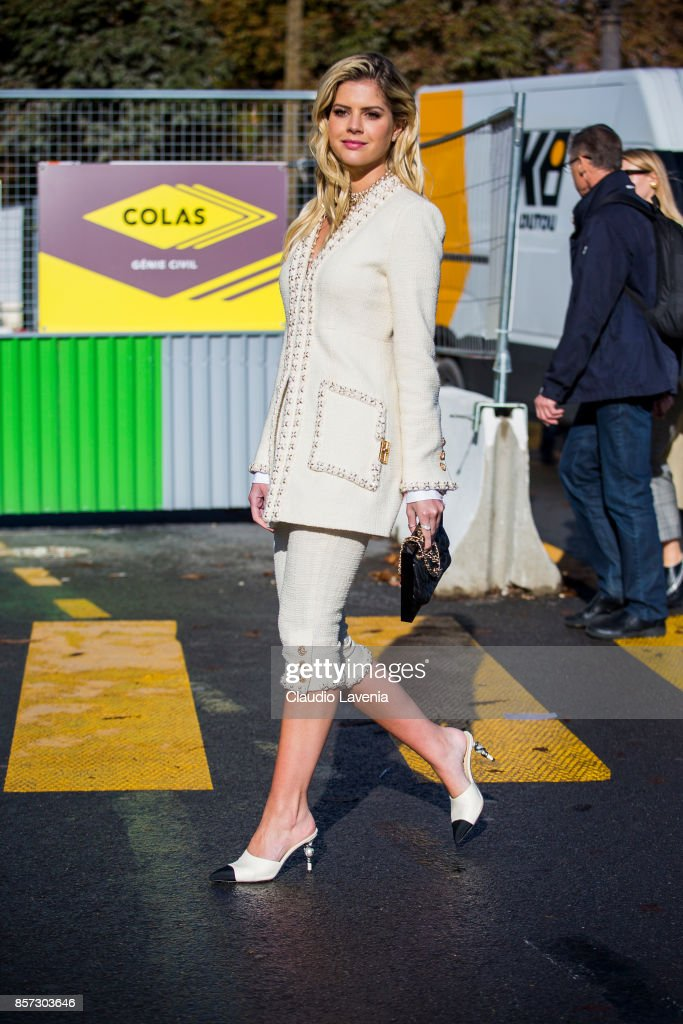 Lala Rudge Trussardi is seen before the Chanel show during Paris Fashion Week Womenswear SS18 on October 3, 2017 in Paris, France.