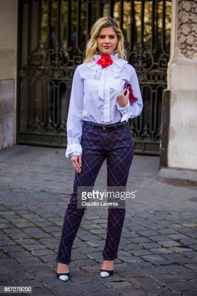 Lala Rudge Trussardi is seen before the Moncler Gamme Rouge show during Paris Fashion Week Womenswear SS18 on October 3 2017 in Paris France