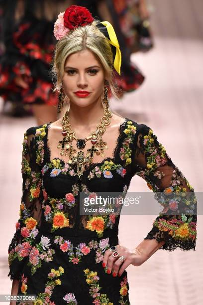 Lala Rudge walks the runway at the Dolce Gabbana show during Milan Fashion Week Spring/Summer 2019 on September 23 2018 in Milan Italy
