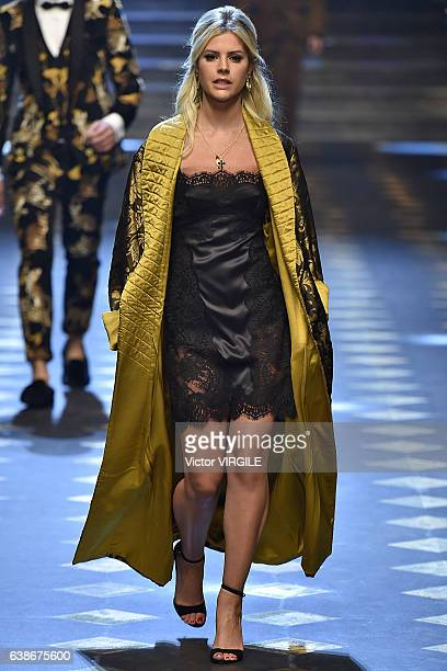 Lala Rudge walks the runway at the Dolce Gabbana show during Milan Men's Fashion Week Fall/Winter 2017/18 on January 14 2017 in Milan Italy