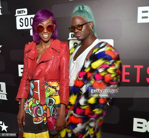 LaLa SizaHands and Kway attend BET Social Awards Red Carpet at Tyler Perry Studio on February 11 2018 in Atlanta Georgia