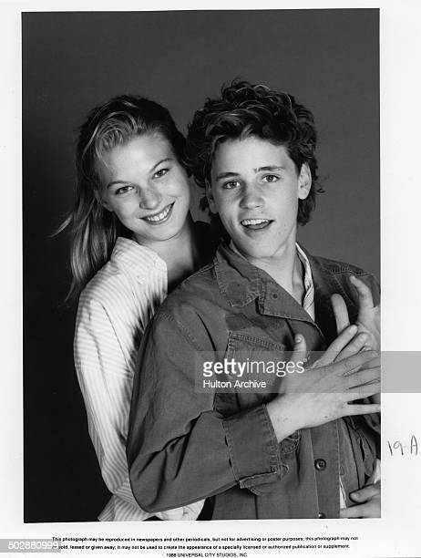 Lala Sloatman and Corey Haim pose for the Universal Studio movie 'Watchers' circa 1988