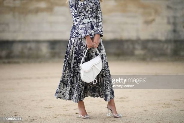 Lala Trussardi Rudge is seen wearing a complete Dior look outside Dior during Paris Fashion Week - Womenswear Fall/Winter 2020/2021 : Day Two on...