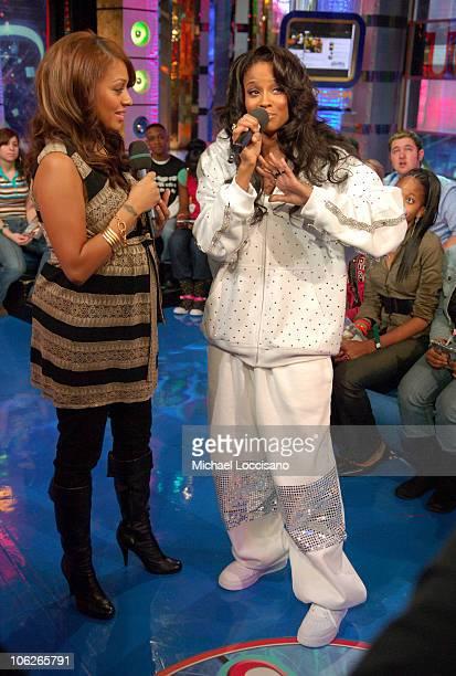 LaLa Vasquez and Ciara during Ciara Visits MTV's TRL December 5 2005 at MTV Studios Times Square in New York City New York United States